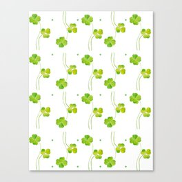 green clover leaf pattern watercolor Canvas Print
