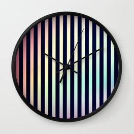 Rainbow Light Play Stripes Pink Teal Wall Clock