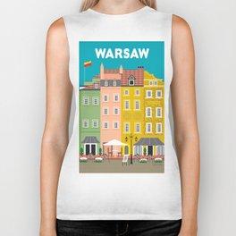 Warsaw, Poland - Skyline Illustration by Loose Petals Biker Tank