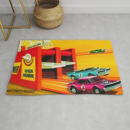Vintage Hot Wheels Redline Dual-Lane Rod Runner Racing Poster Trade Print Rug