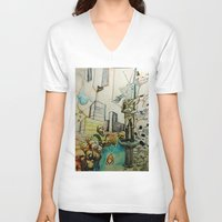 tv V-neck T-shirts featuring TV  by Aaron M. Sutton