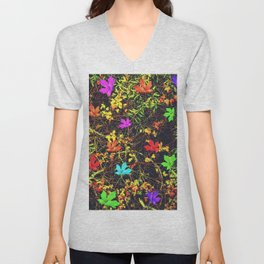 maple leaf in blue red green yellow pink orange with green creepers plants background Unisex V-Neck