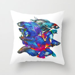 FIGHTING FISHES BETTA - Animals | Psychedelic | 70's | Abstract | Pop | Surrealism | Nature Throw Pillow
