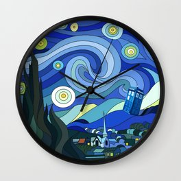Tardis Art Starry Night Wall Clock