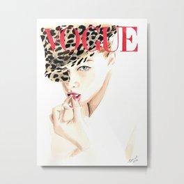 Fashion Illustration. Vogue. Magazine Cover. Metal Print