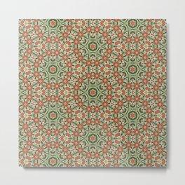 Terracotta and Green Folk Quilt Pattern Metal Print