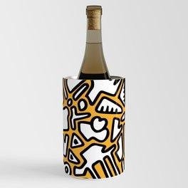 black doodle on orange Wine Chiller