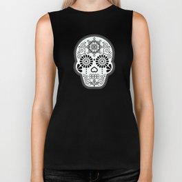Día de Muertos Calavera • Mexican Sugar Skull – White on Black Biker Tank
