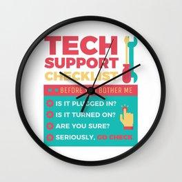 Tech Support Checklist - Computer Helpdesk Admin Wall Clock