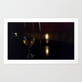 Wine glass and candle Art Print