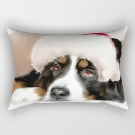 Santa Dog Rectangular Pillow