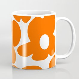 Orange Retro Flowers White Background #decor #society6 #buyart Coffee Mug