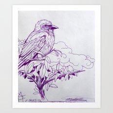 Purple Ink Bird Art Print