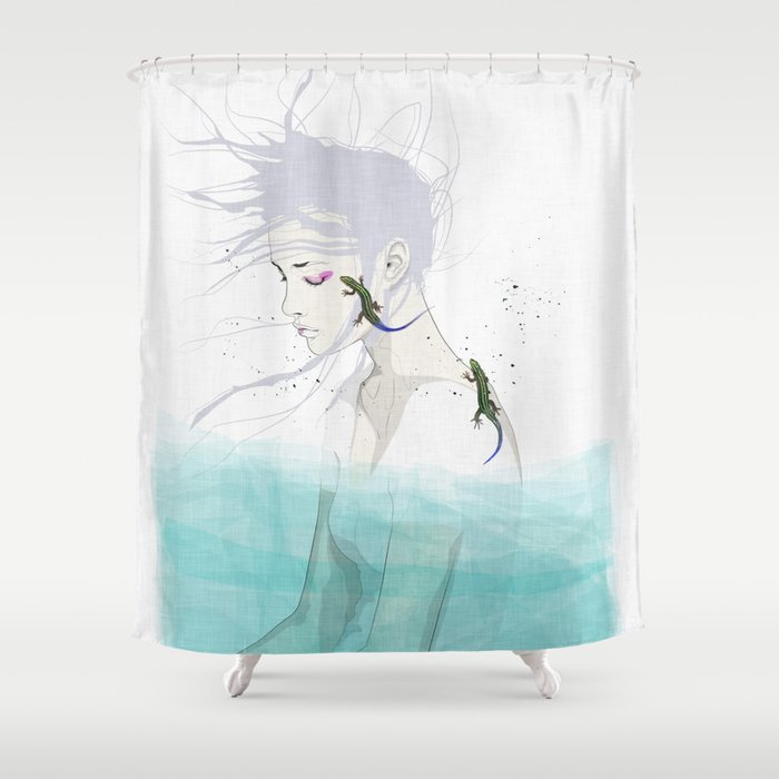 lizard shower curtain by seventraps society6. Black Bedroom Furniture Sets. Home Design Ideas