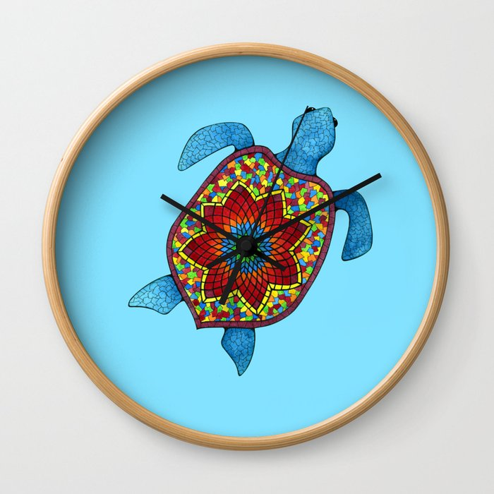 Turtley Awesome Mosaic Turtle Wall Clock