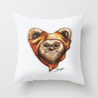 ewok Throw Pillows featuring Ewok Star Wars Heart Art by Sam Skyler