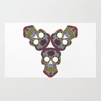 sugar skulls Area & Throw Rugs featuring Sugar Skulls by Weeverbee