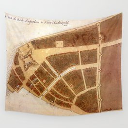 Vintage Map of New Amsterdam (1660) 2 Wall Tapestry