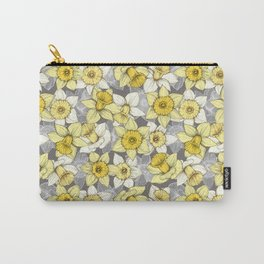 Daffodil Daze - yellow & grey daffodil illustration pattern Carry-All Pouch