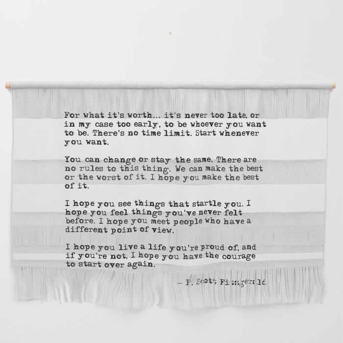 For what it's worth - F Scott Fitzgerald quote Wall Hanging
