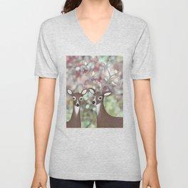 white tailed deer, warbling vireos, & cherry blossoms Unisex V-Neck