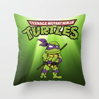 ninja turtle Throw Pillows featuring Ninja Turtle by flydesign