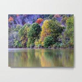 Lakeside Autumn Rural Landscape Metal Print