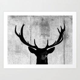 Industrial Black Deer Silhouette A313 Art Print