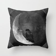 The crow and its moon. Throw Pillow