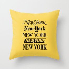 New York City Yellow Taxi and Black Typography Poster NYC Throw Pillow