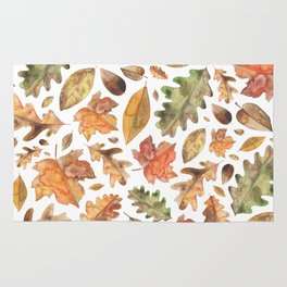 Watercolour Autumn Leaves. Rug