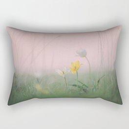wild rare pretty tulips in grass field in spring Rectangular Pillow