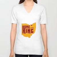 lebron V-neck T-shirts featuring Home of the King (Red) by Denise Zavagno