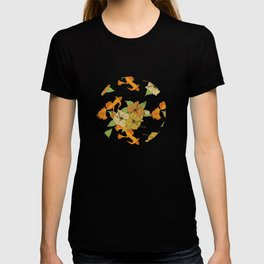 Night Time Goldfish Pond With Hibiscus Pattern T-shirt