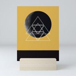 Geometric Moon (Spicy Mustard) Mini Art Print