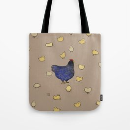 Mama Chicken and her babies Tote Bag