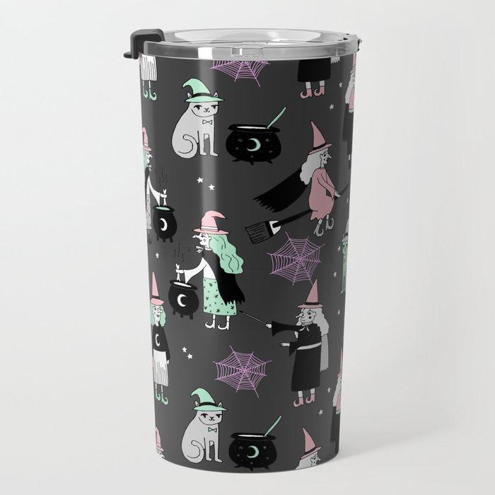 Witches halloween pattern cute cat cauldron broomsticks magic spells Travel Mug