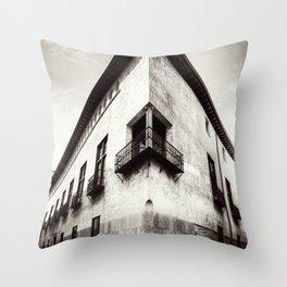 The oblique building Throw Pillow
