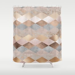 Copper and Blush Rose Gold Marble Argyle Shower Curtain