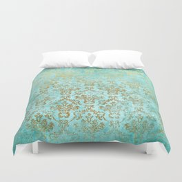 Mermaid Gold Aqua Seafoam Damask Duvet Cover
