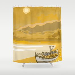 Golden Beach Boat Timeless Shower Curtain