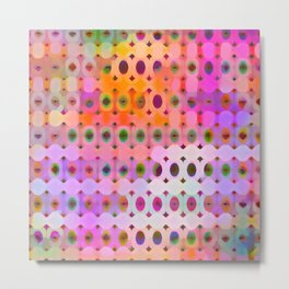 Fluorescent Geometric Rainbow Metal Print