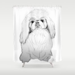 Cartoon Pekingese Dog Shower Curtain