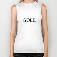 black and gold Biker Tanks featuring GOLD by Stars Live Forever