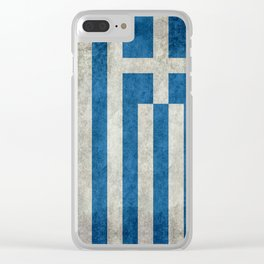 Greek Flag - vintage retro style Clear iPhone Case
