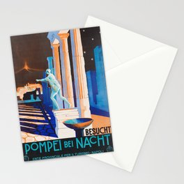 Pompei at Night - Vintage German Travel Ad Stationery Cards