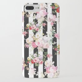 Bold pink watercolor roses floral black white stripes iPhone Case