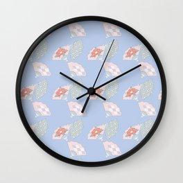 Periwinkle Sayagata Peony Fan Japanese Kimono Pattern Wall Clock