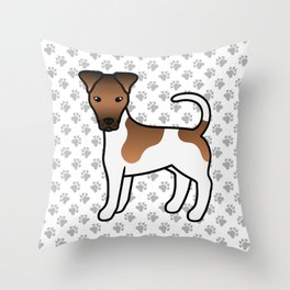 White And Tan Smooth Fox Terrier Dog Cute Cartoon Illustration Throw Pillow