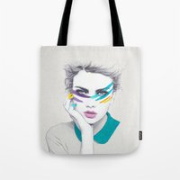 war Tote Bags featuring War Paint Sally by Jenny Liz Rome